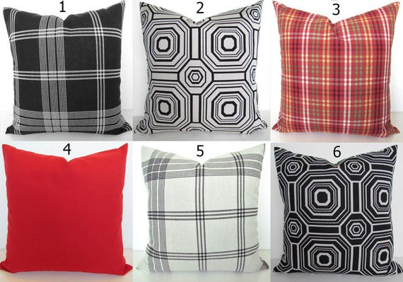 White Pillows Black Plaid Outdoor Throw Pillow Covers Etsy