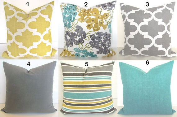 Turquoise PILLOWS Teal Decorative Pillow Covers Gray Pillows Etsy Inspiration Grey And Gold Decorative Pillows