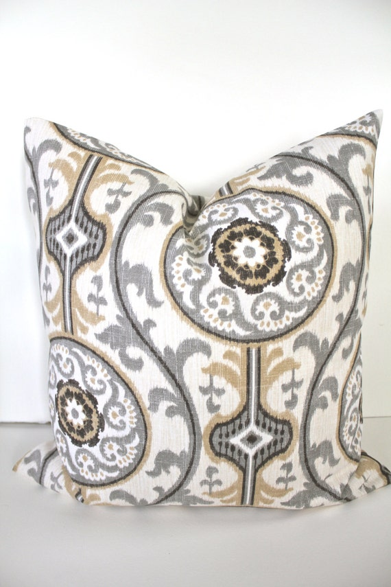 Sale Tan Throw Pillow Gray Decorative Pillows Tan Pillow Etsy