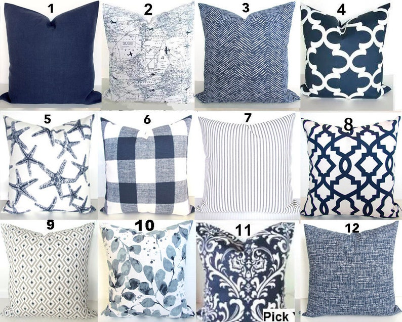 Blue Pillows Blue Throw Pillows Navy Blue Decorative Pillow image 0