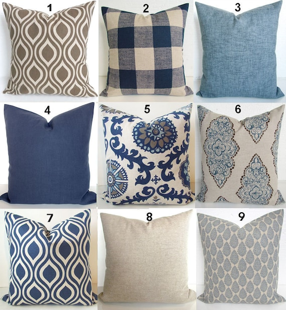PILLOWS Navy Blue Throw Pillow Covers