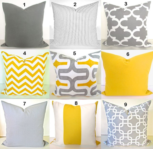 YELLOW PILLOW Covers Gray Decorative Pillows Yellow Throw Etsy Inspiration Gray And Yellow Decorative Pillows