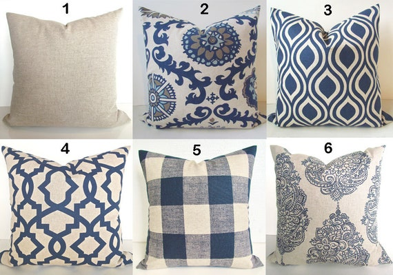 TAN PILLOWS Navy Blue Throw Pillow Covers Dark Blue Pillows Etsy Magnificent Dark Blue Decorative Pillows