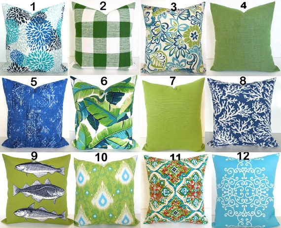 Blue Outdoor Pillows Lime Green Outdoor Throw Pillow Covers Etsy Magnificent Throw Pillow Covers Etsy