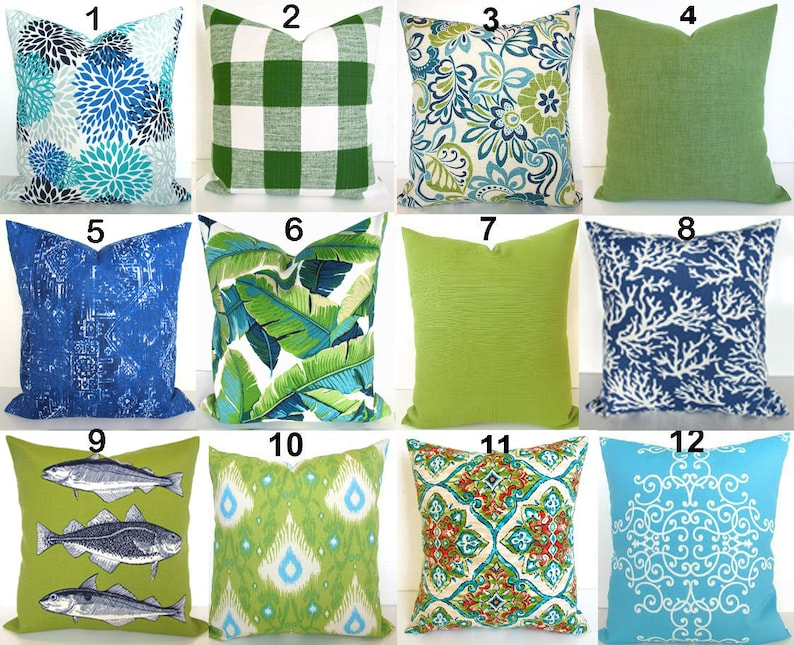 Blue Outdoor Pillows Lime Green Outdoor Throw Pillow Covers Etsy