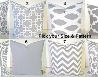 Gray PILLOWS Grey Pillow Covers Gray Decorative Throw Pillows Grey Throw Pillow Covers Euro Shams 22 24x24 26 .All Sizes Say it with pillows
