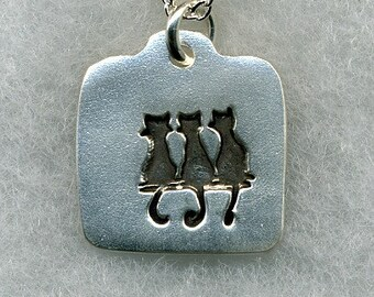 3 Cats on a Wall Silver Pendant