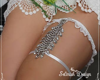 Rhinestone Garter, Wedding Garter, Bridal Garter, Crystal Garter -G175lux