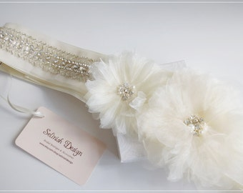 Bridal Sash Belt, Ivory Wedding Sash, Beaded Flower Bridal Sash, Belts & Sashes,Bridal Accessories- Style:SB156flower