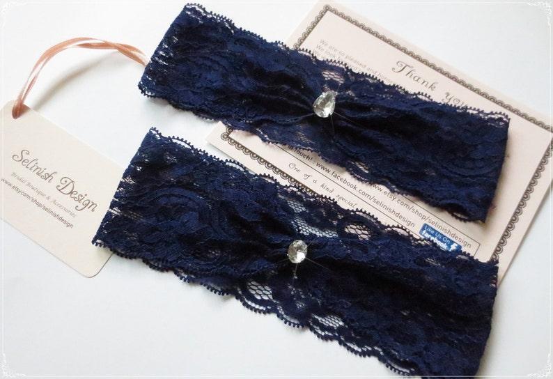Royal Blue Bridal Garter Blue Lace Garter Something Blue Navy Garter Wedding Garter Rhinestone Garter Bridal Simple garter