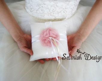 Blush Ring Bearer Pillows, Soft Pink Wedding Ring Pillow Bearer, Flower Ring Bearer Pillow, Wedding Accessories -RP131sally