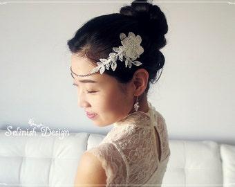 Bridal Headchain, Wedding Flower Headpiece, Bridal Headpiece, Bridal Flower Fascinator, Wedding headchain-HP154chain