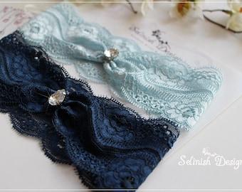 Blue Lace Garter, Something Blue Garter, Wedding Garter Set, Lace Garter,Bridal Garter, Blue Garter, Baby Blue Garter, Navy Garter-G173blues