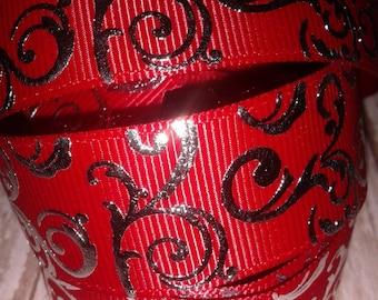 Red Swirls Grosgrain Ribbon