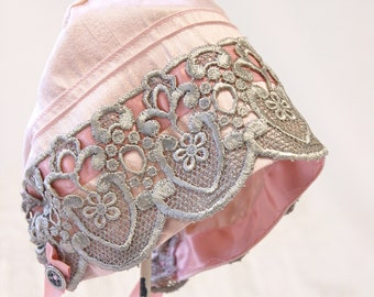 Pink Silk and lace Baby bonnet -- vintage style baby bonnet. photo prop. baby girl. shower gift. infant hat. newborn. fiber. baby clothes