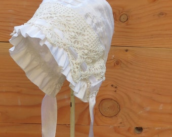 White Silk and Vintage Crochet Baby Bonnet -- Christening bonnet. infant Photo prop. newborn girl hat. Heirloom bonnet, Easter bonnet