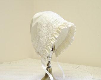 Ivory Silk Baby bonnet -- Christening bonnet girl. vintage style bonnet. Easter bonnet. infant photo prop. white silk baby girl  hat .