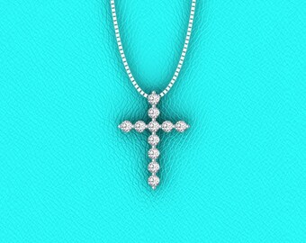 14K white gold single prong double gallery diamond Cross