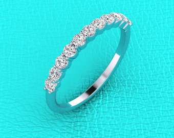 Platinum shared prong Diamond band 2.2mm