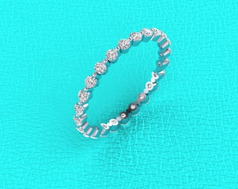 Platinum single prong eternity band