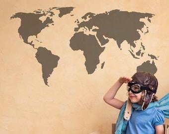 Stencil World Map.World Map Stencil Etsy