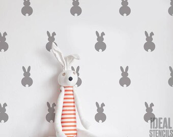 Bunny Rabbit pattern STENCIL, Nursery Home WALL DECOR Stencil, Reusable Mylar bespoke wall Painting