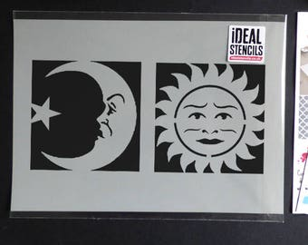 Celestial Sun Moon Face Stencils Art Craft And Decorating Stencil Ouija Board Symbols For Painting Various Sizes Reusable Mylar