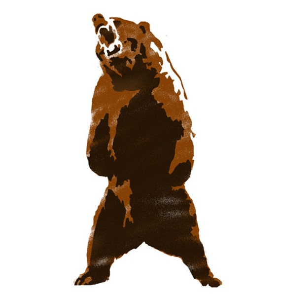 Grizzly Bear 2 layer stencil animal stencil multi layer