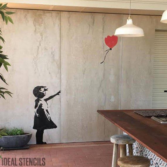 Banksy Balloon Girl stencil art craft wall home decor painting Ideal Stencils