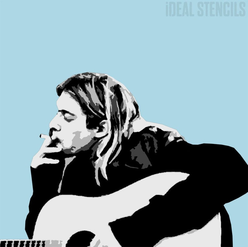 Kurt Cobain Multi Layer Stencil | Wall Art Portrait | Home Decor Painting  Stencil | Paint Walls Floor Fabrics, Furniture | Ideal Stencils