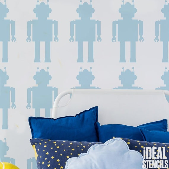Stencil di robot, bambini ragazzi camera da letto parete decorazione  stencil - decorazioni per la casa / artigianato / vernice tessuti e mobili  ...