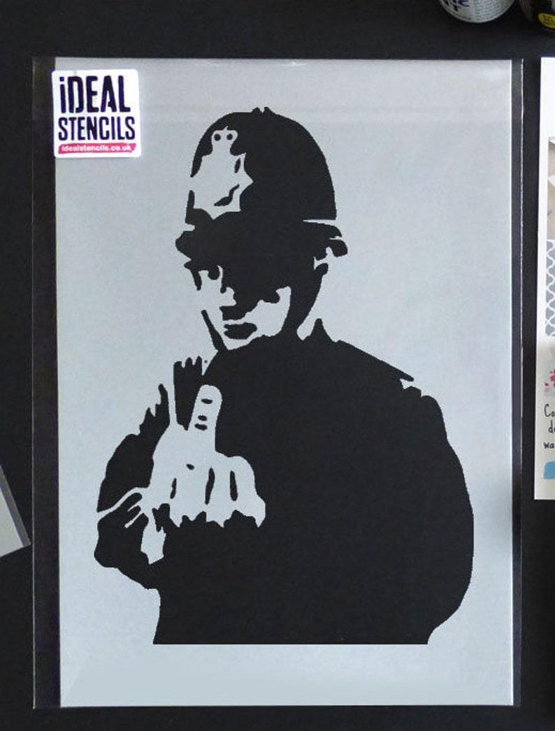 d822e0159ac4 BANKSY STENCIL - Rude Cop. Copper middle Finger. Reusable Graffiti Art  Banksy Stencil. Paint Walls, Fabrics, Furniture | Ideal Stencils