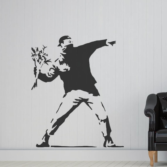 Banksy Flower Thrower STENCIL HUGE Life size Wall ART   Etsy