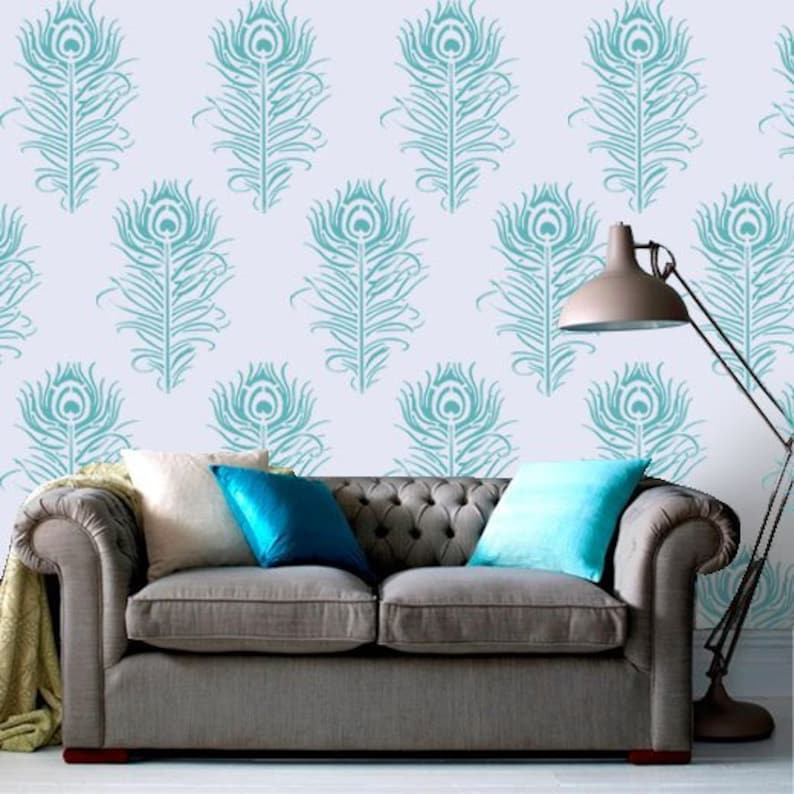 Peacock Feather Stencil Bespoke Wall Painting Stencil Home Decor Art Craft Reusable Peacock Stencil By Ideal Stencils