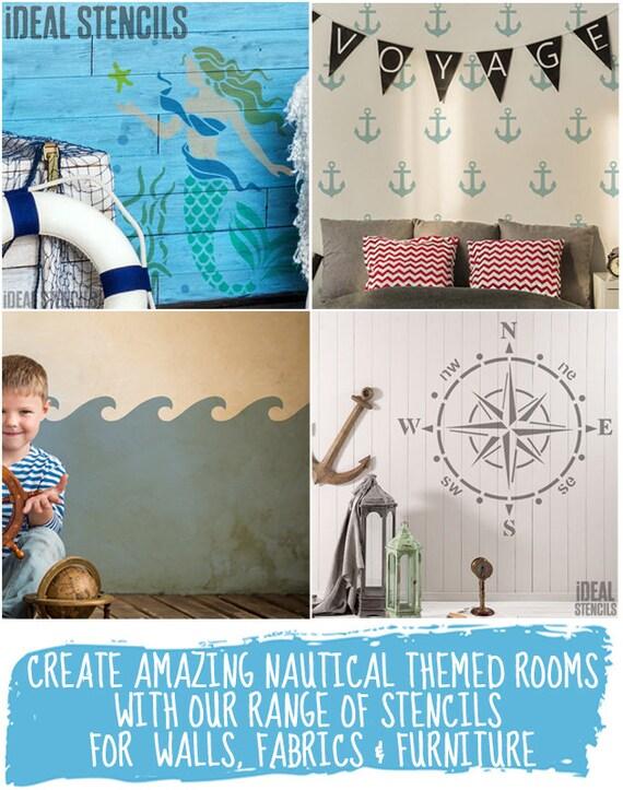Wave Stencil Nautical decor Nursery Paint Walls Fabric Furniture Ideal Stencils
