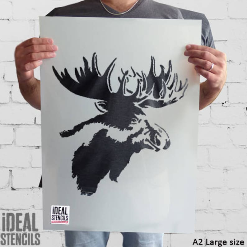 Moose Head Stencil Moose Elk Wall Stencil Home Decor Paint Etsy