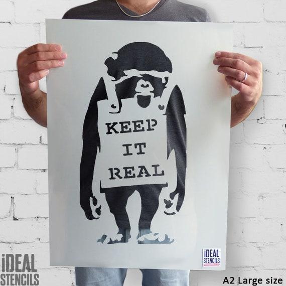 BANKSY Schablone Affe halten es Real Wohnkultur | Etsy