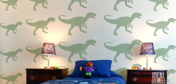 Dinosaur Kids bedroom Wall Repeat Pattern Mylar Decorating DIY Painting Stencil