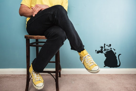 Banksy Maus Kamera Airbrush Malerei Wand-Deko Stencil