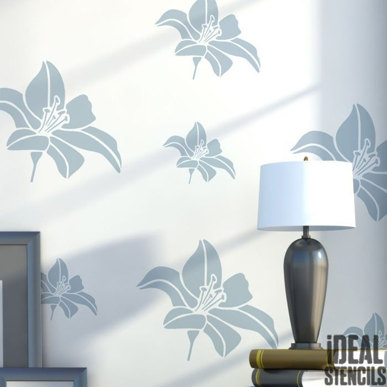 Lily flower Stencil, Home Decor for walls, fabrics, furniture, decorating  and Art Craft use, Reusable Mylar Stencil - Ideal Stencils