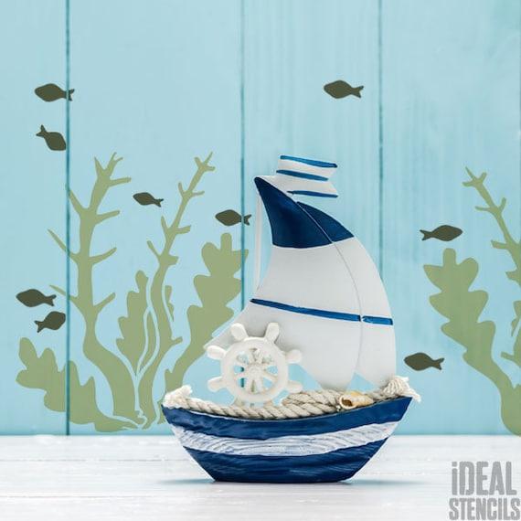 Jelly Fish Nautical Stencil Paint Walls Fabric Furniture Art Craft Ideal Stencil