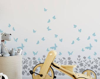 Butterly & Blossom Nursery Stencil, Girls Nursery Wall Decor, Paint beautiful Nursery with Flowers Butterflies, Ideal Stencils