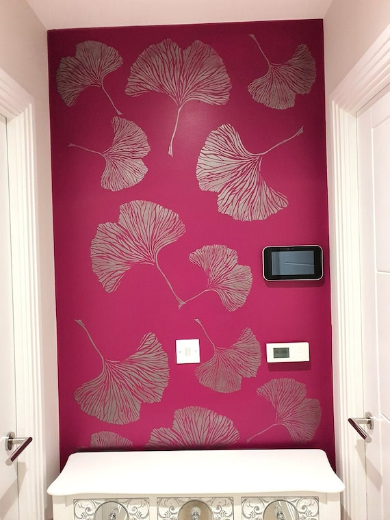 Ginkgo Chinese Leaf Stencil//Botanical Home Decor Stencil Paint Bespoke Wallpaper Effect with Stencils DIY Stencils S// 26X29CM // 10.2X11.5 Ideal Stencils