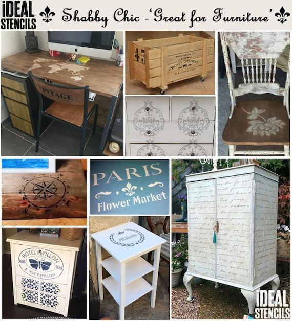 Vintage Shabby Chic Schablone für Möbelmalerei, Upcycle Möbel mit  wiederverwendbaren Schablonen, Home Decor Handwerk auch für Wände, Stoffe