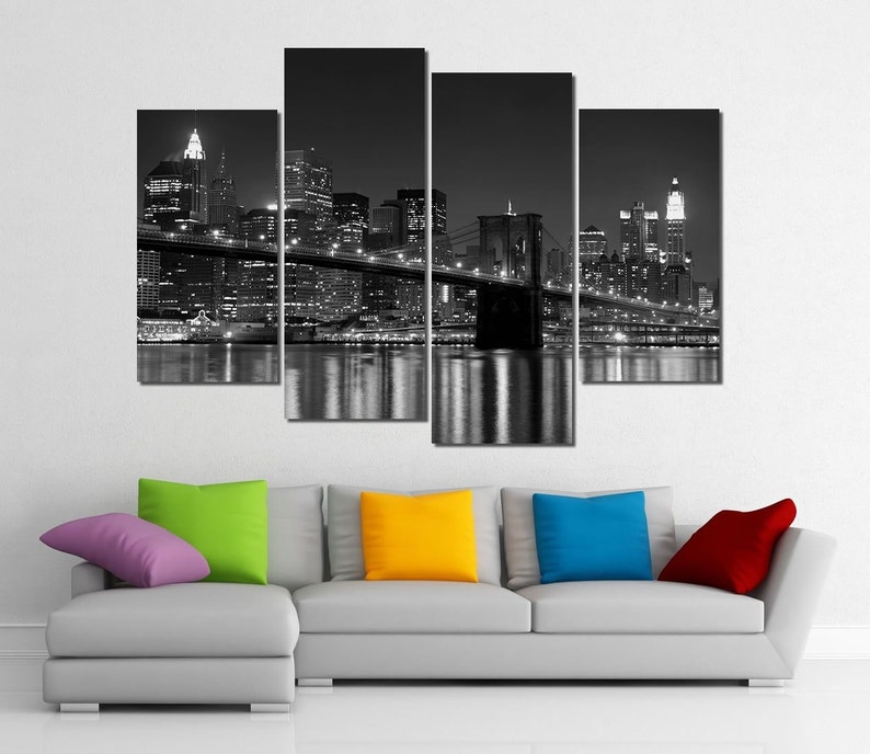 Framed Hugh 4 Panel Canvas Art New York Ny Manhattan Brooklyn Bridge Giclee Canvas Print Ready To Hang