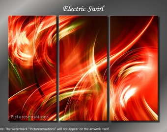 Framed Huge 3 Panel Fractal Art Electric Swirl Giclee Canvas Print - Ready to Hang