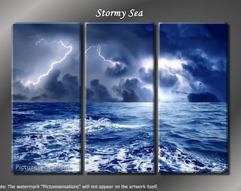 Framed Huge 3 Panel Lightning Ocean Stormy Sea Giclee Canvas Print - Ready to Hang