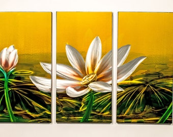Modern Abstract Painting Metal Wall Art Sculpture Water Lily