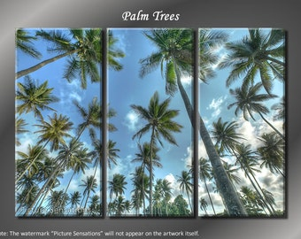 Framed Huge 3 Panel Modern Art Tropical Palm Trees Giclee Canvas Print - Ready to Hang