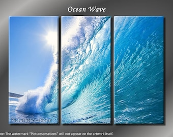 Framed Huge 3 Panel Modern Nature Art Ocean Wave Giclee Canvas Print - Ready to Hang